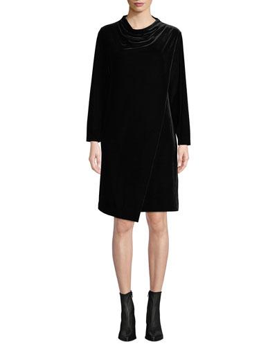 Plus Size Long-Sleeve Draped-Front Velvet Dress w/ Side Pockets