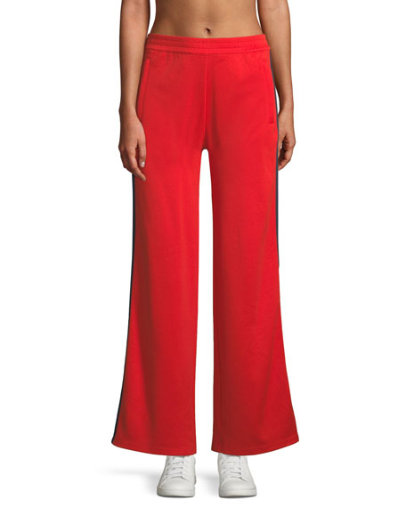 Wide-Leg Double-Stripe Track Pants