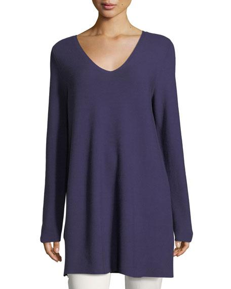 Eileen Fisher Crisp Cotton Links Long-Sleeve V-Neck Tunic