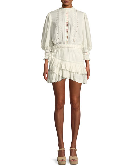 LoveShackFancy Lorelei Embroidered Eyelet Frill Mini Dress