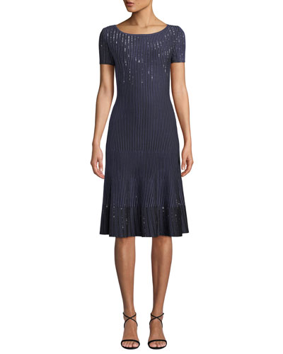 Bateau-Neck Short-Sleeve Luxe Ottoman Knit Fit-and-Flare Dress w/ Sequins