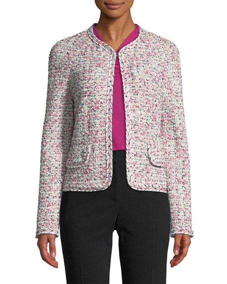 St. John Collection Modern Pointelle Tweed Knit Jacket w/ Braided Trim