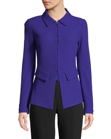 St. John Collection Irina Hook-Front Boucle-Knit Jacket w/ Pocket Flaps