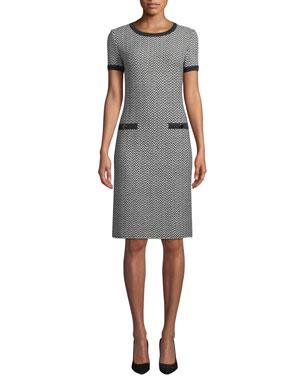 9bc3714a0631 St. John Collection Short-Sleeve Herringbone Knit Dress