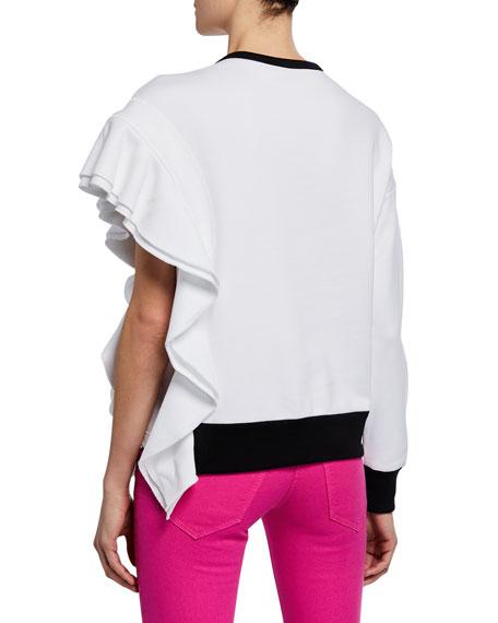 No. 21 Asymmetric Ruffled Sweatshirt