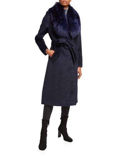 Long Coat w/ Removable Suri Alpaca Fur Collar