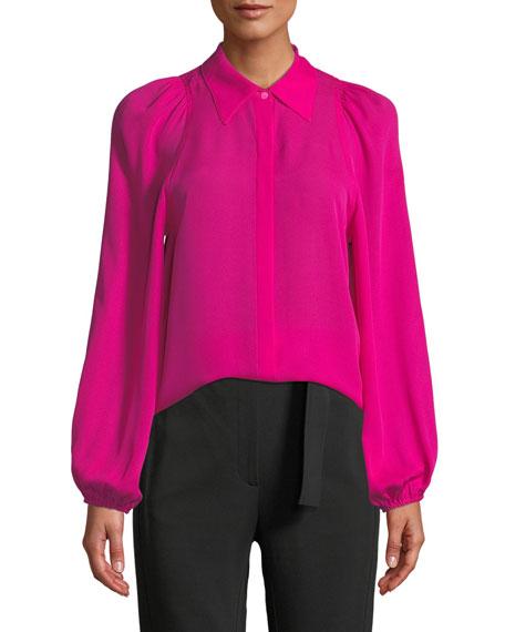 Lori Collared Button Front Blouson-Sleeve Silk Top