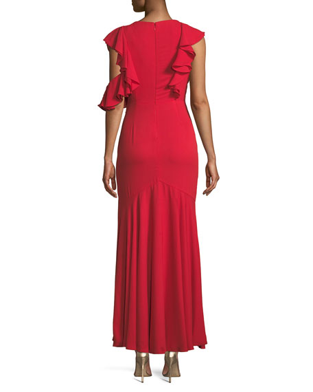 Vionna V-Neck Sleeveless Draped Ruffled Evening Gown