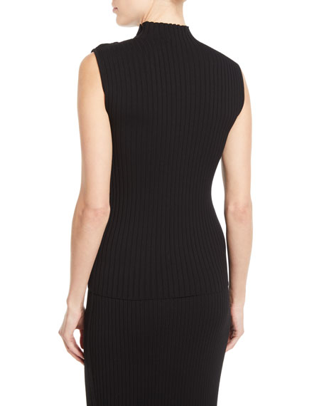 St. John Collection Sleeveless Flat-Rib Mock-Neck Sweater