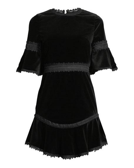 Alice + Olivia Doloris Velvet Trumpet-Sleeve Dress w/ Lace Trim