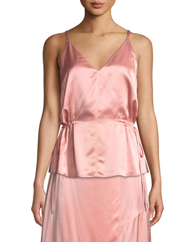 Satin V-Neck Cami with Side Ties