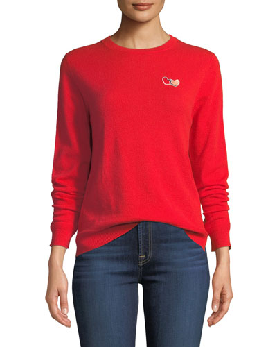 Twin Heart Cashmere Crewneck Pullover Sweater