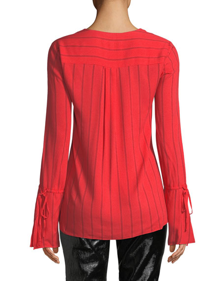 Derek Lam 10 Crosby Striped V-Neck Ruffle Long-Sleeve Blouse