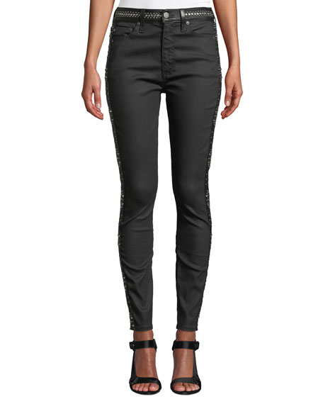ALICE + OLIVIA JEANS Good High-Rise Studded Ankle Skinny Jeans