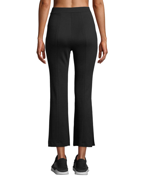 CUSHNIE High-Waist Cropped Active Pants w/ Slit Sides