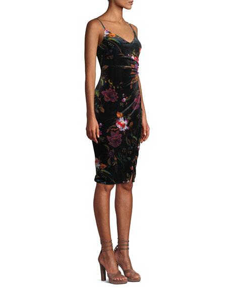Black Halo Bowery Ruched Floral Velvet Dress