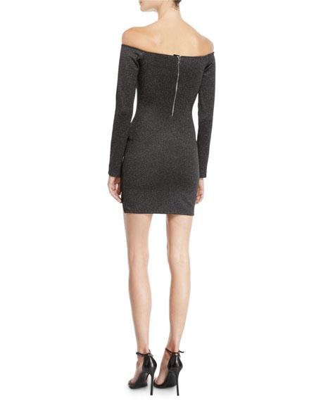 RtA Electra Off-Shoulder Metallic Long-Sleeve Dress