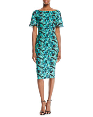 81e5549ccca80 Chiara Boni La Petite Robe Arifa Floral-Print Ruffle-Sleeve Cocktail Sheath  Dress