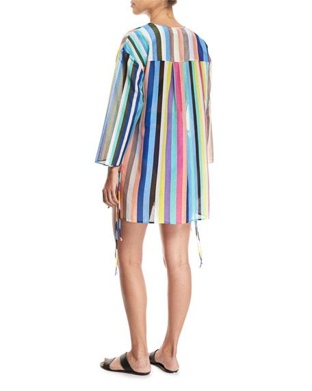 Long-Sleeve V-Neck Tied Mini Dress