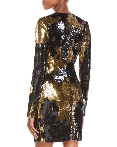 NK32 Naeem Khan Long-Sleeve Sequin Mini Dress