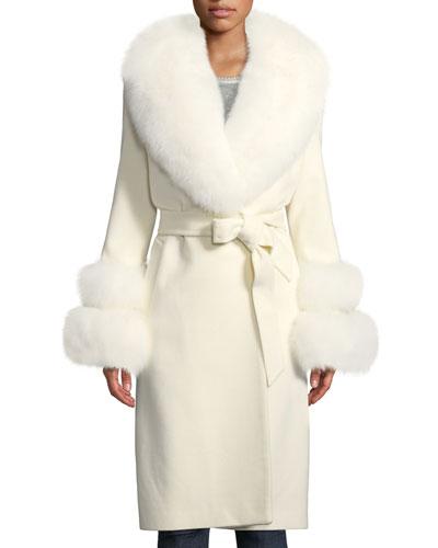 Fur Shawl-Collar & Double-Cuff Coat