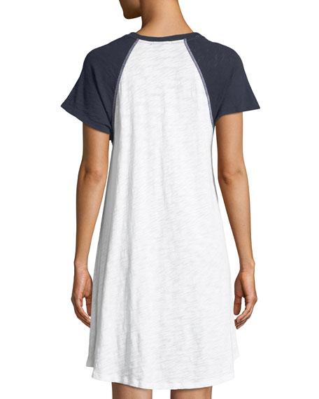 Slub Cotton Jersey Raglan Short-Sleeve Baseball Shirtdress