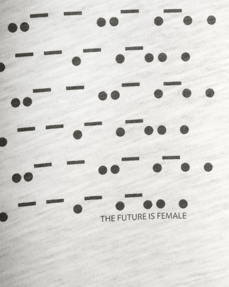 Eileen Fisher Morse Code The Future is Female Jewel-Neck Short-Sleeve Cotton Tee