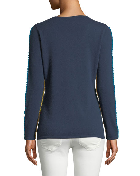 Ruffle-Trim Cashmere V-Neck Sweater