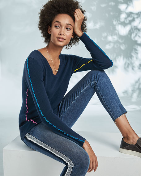Neiman Marcus Cashmere Collection Ruffle-Trim Cashmere V-Neck Sweater