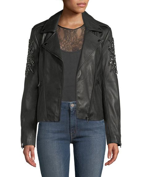 Neiman Marcus Leather Collection Embellished-Sleeve Leather Moto Jacket
