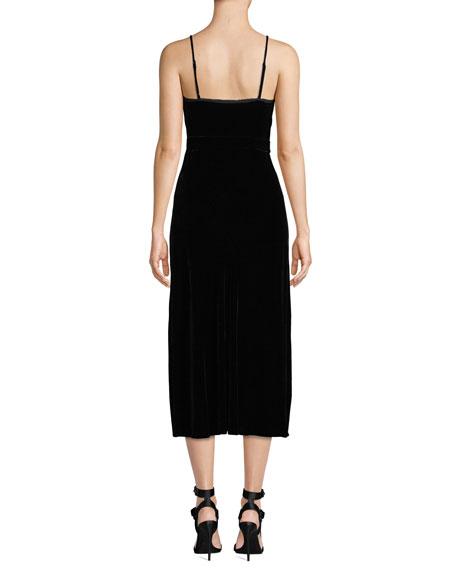 FRAME Sleeveless Velvet Midi-Length Slip Dress
