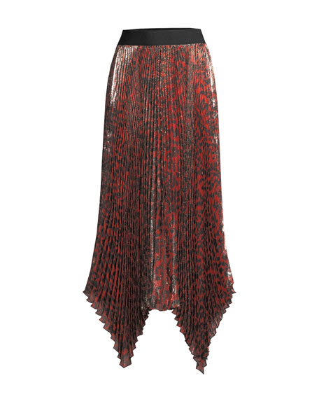 Alice + Olivia Katz Shimmery Leopard Pleated Maxi Skirt