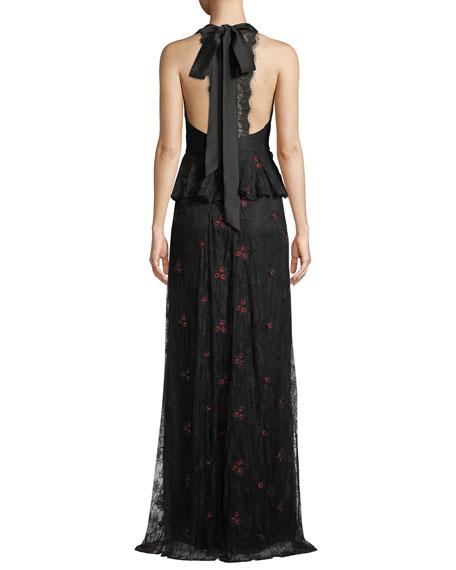 ML Monique Lhuillier Lace Halter Gown w/ Peplum