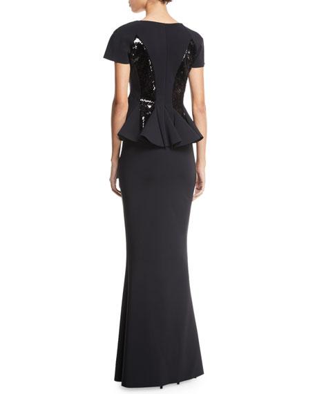 Chiara Boni La Petite Robe Feliciana Sequin & Peplum Gown