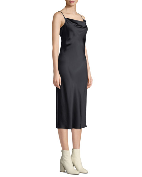 Marcenna Cowl-Neck Sleeveless Satin Midi Slip Dress