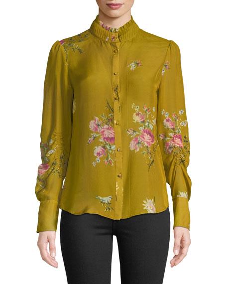 Joie Elzie Long-Sleeve Floral Silk Top