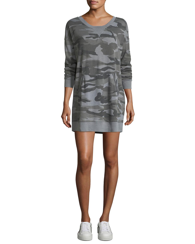345134169fdad Splendid Camo-Print Crewneck Sweatshirt Dress | Neiman Marcus