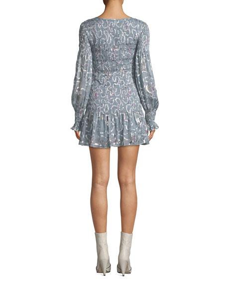 Loveshackfancy Scarlett Smocked Metallic Mini Dress