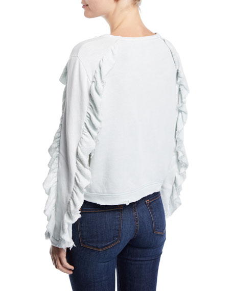 LoveShackFancy Daron Cropped Ruffle Pullover Sweater