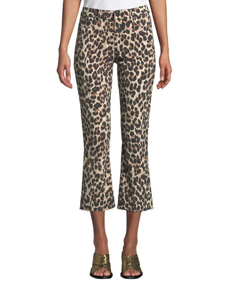Colette Flared Leopard-Print Cropped Jeans