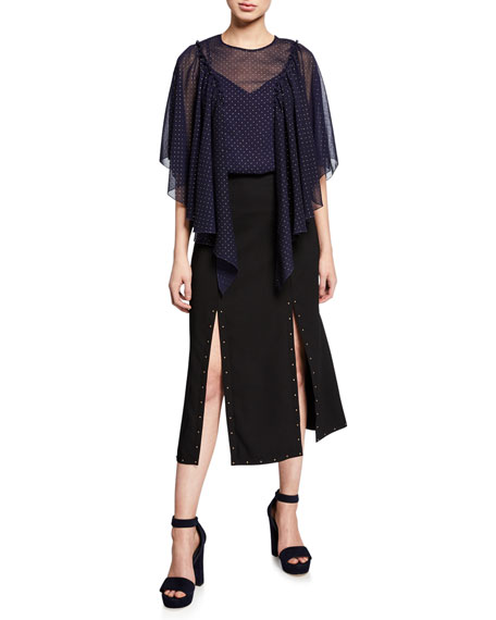 See by Chloe Double-Slit Studded Maxi Skirt