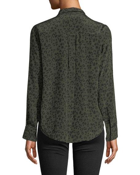 Rails Kate Cheetah-Print Silk Button-Down Top