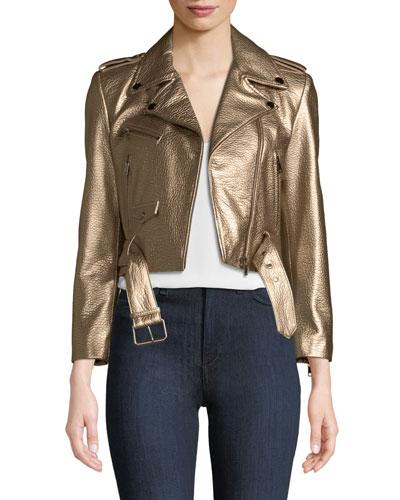 Roberta Metallic Zip-Front Leather Moto Jacket