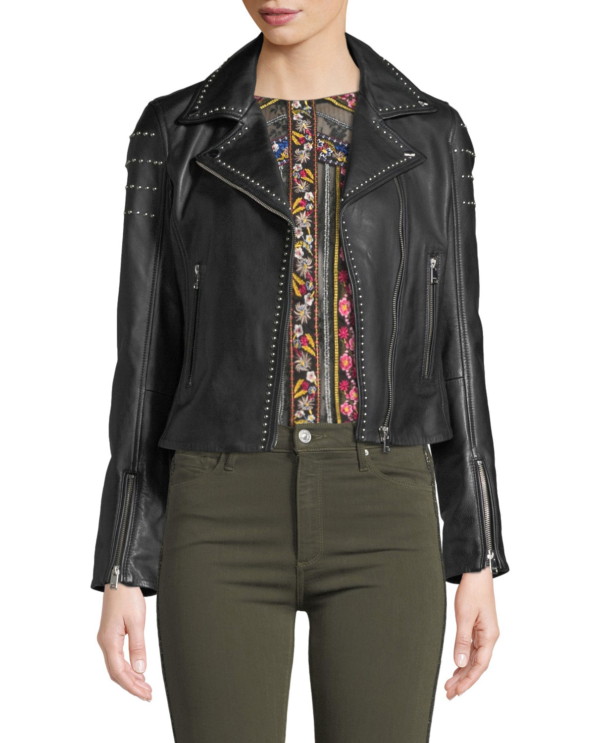 LaMarque Loni Studded Leather Cropped Moto Jacket | Neiman ...