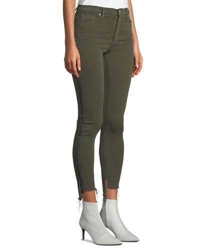 Miranda Step-Hem Side-Stripe Skinny Ankle Jeans