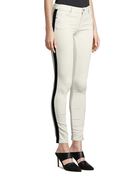BLACK ORCHID Jude Mid-Rise Skinny Jeans W/ Tuxedo Stripes in White Pattern
