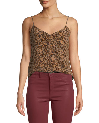 Jane Cheetah-Print V-Neck Camisole Top