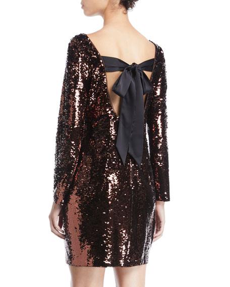 Aidan by Aidan Mattox Long-Sleeve Sequin Bow-Back Mini Dress