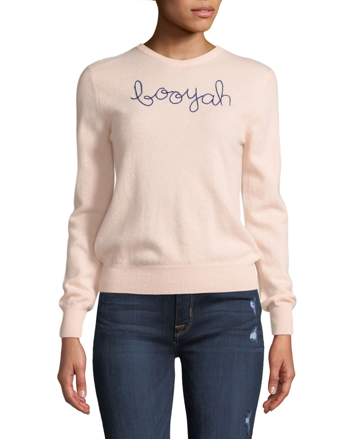 Lingua Franca Booyah Embroidered Cashmere Sweater