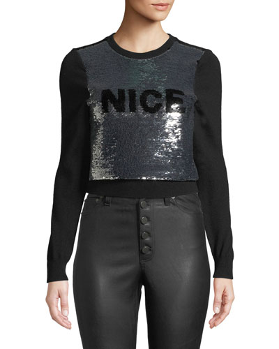 Chia Naughty/Nice Flip Sequin Pullover Sweater